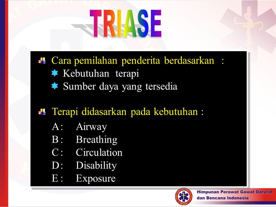 Cara pemilahan penderita berdasarkan :  Kebutuhan terapi  Sumber daya yang tersedia Terapi didasarkan pada kebutuhan : A:Airway B:Breathing C:Circul