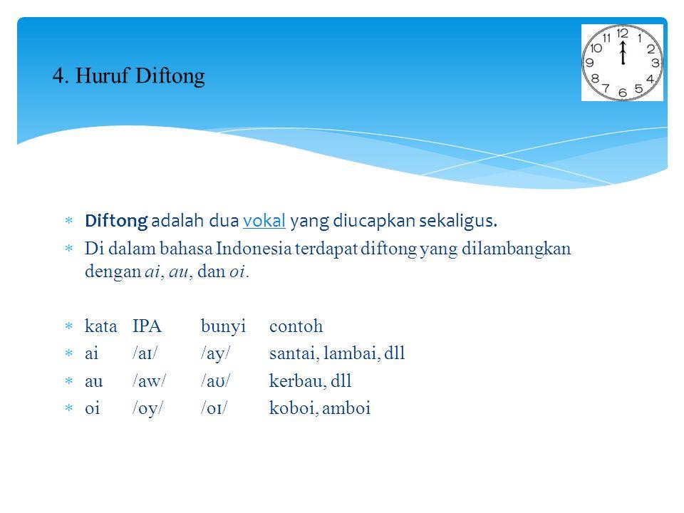  Diftong adalah dua vokal yang diucapkan sekaligus.vokal  Di dalam bahasa Indonesia terdapat diftong yang dilambangkan dengan ai, au, dan oi.