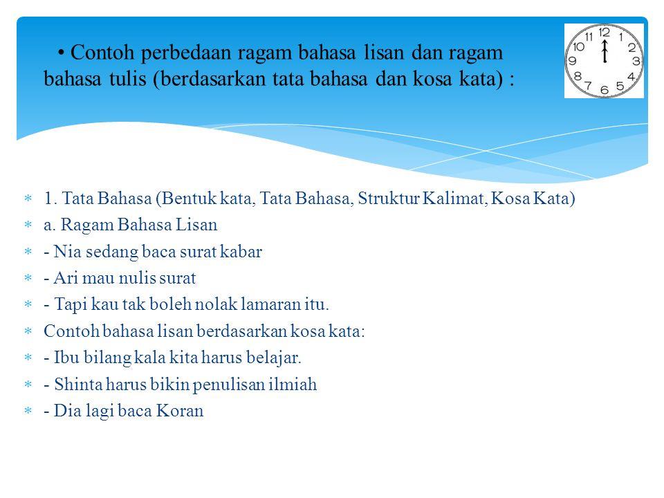  1.Tata Bahasa (Bentuk kata, Tata Bahasa, Struktur Kalimat, Kosa Kata)  a.