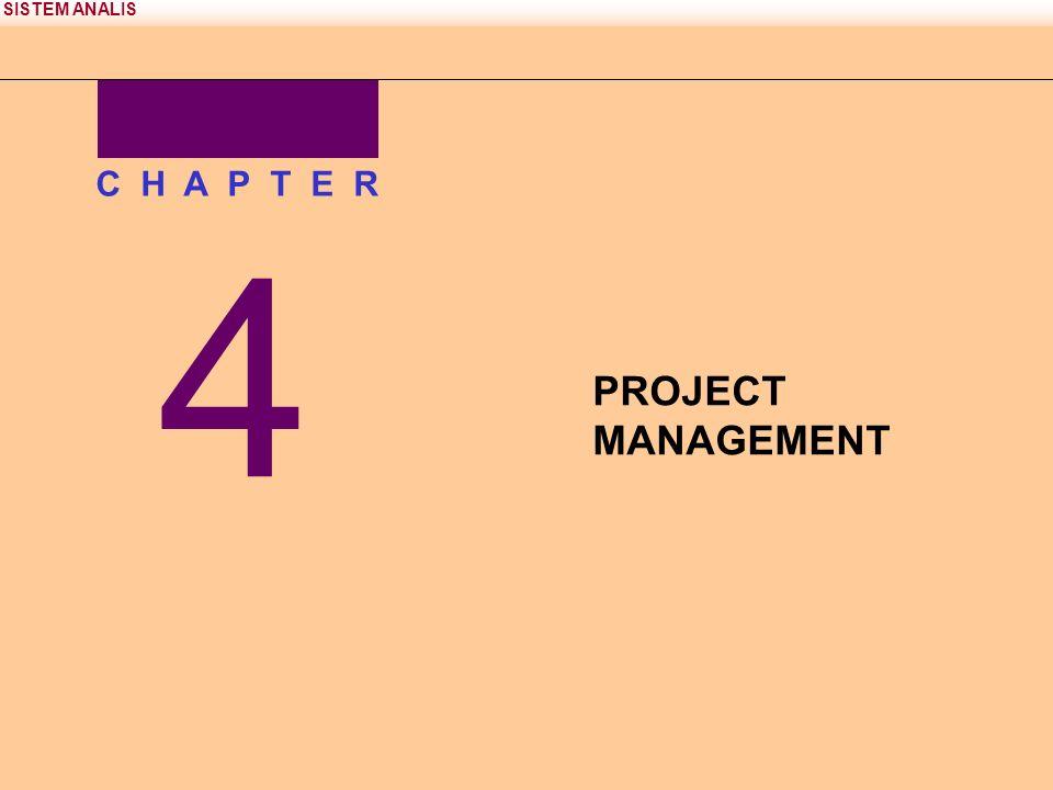 SISTEM ANALIS Proyek dan Manajemen Proyek Proyek adalah urutan (sementara) aktifitas-aktifitas unik, kompleks, dan terkoneksi yang memiliki satu tujuan atau sasaran dan harus dilengkapi dengan waktu yang spesifik,sesuai dengan anggaran dan sesuai dengan spesifikasi.