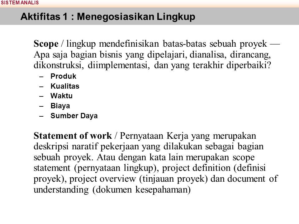 SISTEM ANALIS Aktifitas 1 : Menegosiasikan Lingkup Scope / lingkup mendefinisikan batas-batas sebuah proyek — Apa saja bagian bisnis yang dipelajari, dianalisa, dirancang, dikonstruksi, diimplementasi, dan yang terakhir diperbaiki.
