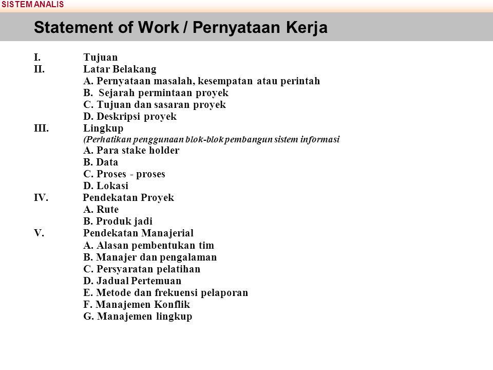 SISTEM ANALIS Statement of Work / Pernyataan Kerja I.Tujuan II.Latar Belakang A. Pernyataan masalah, kesempatan atau perintah B. Sejarah permintaan pr