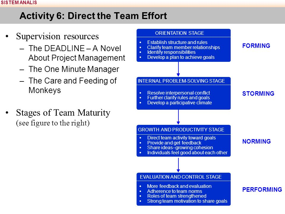 SISTEM ANALIS Activity 6: Direct the Team Effort Supervision resources –The DEADLINE – A Novel About Project Management –The One Minute Manager –The Care and Feeding of Monkeys Stages of Team Maturity (see figure to the right)  Establish structure and rules  Clarify team member relationships  Identify responsibilities  Develop a plan to achieve goals ORIENTATION STAGE  Resolve interpersonal conflict  Further clarify rules and goals  Develop a participative climate INTERNAL PROBLEM-SOLVING STAGE  Direct team activity toward goals  Provide and get feedback  Share ideas–growing cohesion  Individuals feel good about each other GROWTH AND PRODUCTIVITY STAGE  More feedback and evaluation  Adherence to team norms  Roles of team strengthened  Strong team motivation to share goals EVALUATION AND CONTROL STAGE FORMING STORMING NORMING PERFORMING