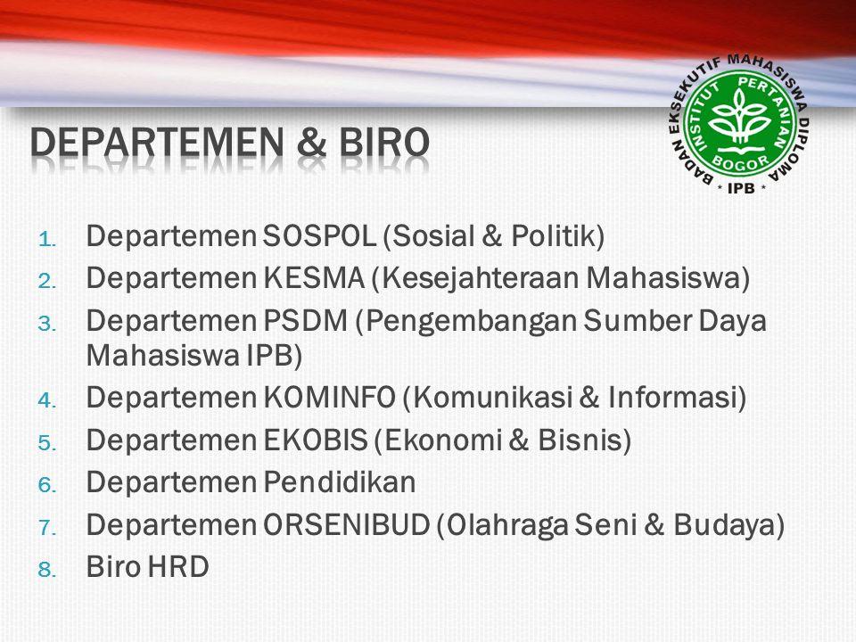1. Departemen SOSPOL (Sosial & Politik) 2. Departemen KESMA (Kesejahteraan Mahasiswa) 3. Departemen PSDM (Pengembangan Sumber Daya Mahasiswa IPB) 4. D