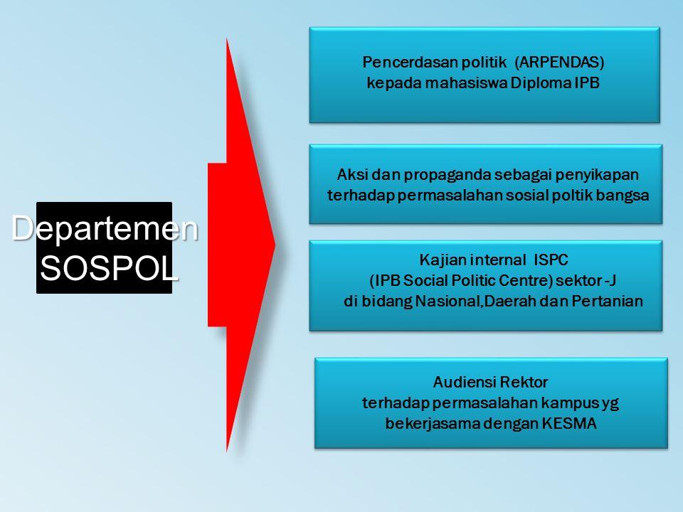 Departemen SOSPOL SOSPOL Pencerdasan politik (ARPENDAS) kepada mahasiswa Diploma IPB Aksi dan propaganda sebagai penyikapan terhadap permasalahan sosi