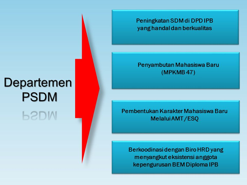 Peningkatan SDM di DPD IPB yang handal dan berkualitas Penyambutan Mahasiswa Baru (MPKMB 47) Pembentukan Karakter Mahasiswa Baru Melalui AMT /ESQ Berkoodinasi dengan Biro HRD yang menyangkut eksistensi anggota kepengurusan BEM Diploma IPB