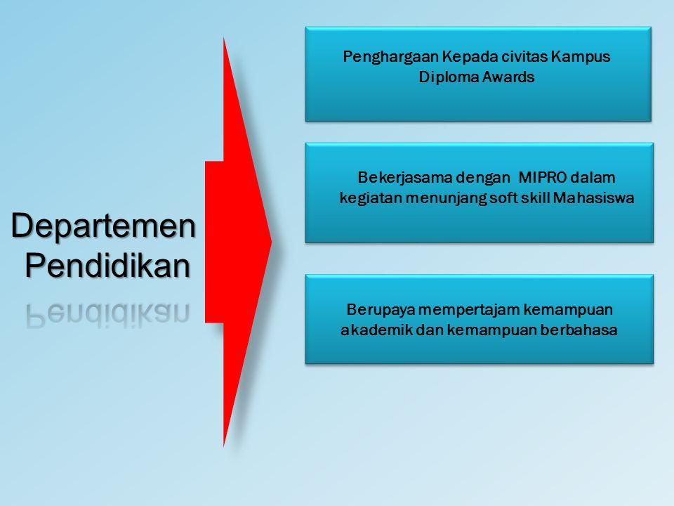 Penghargaan Kepada civitas Kampus Diploma Awards Bekerjasama dengan MIPRO dalam kegiatan menunjang soft skill Mahasiswa Berupaya mempertajam kemampuan