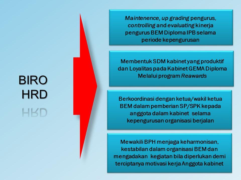 Maintenence, up grading pengurus, controlling and evaluating kinerja pengurus BEM Diploma IPB selama periode kepengurusan Membentuk SDM kabinet yang p