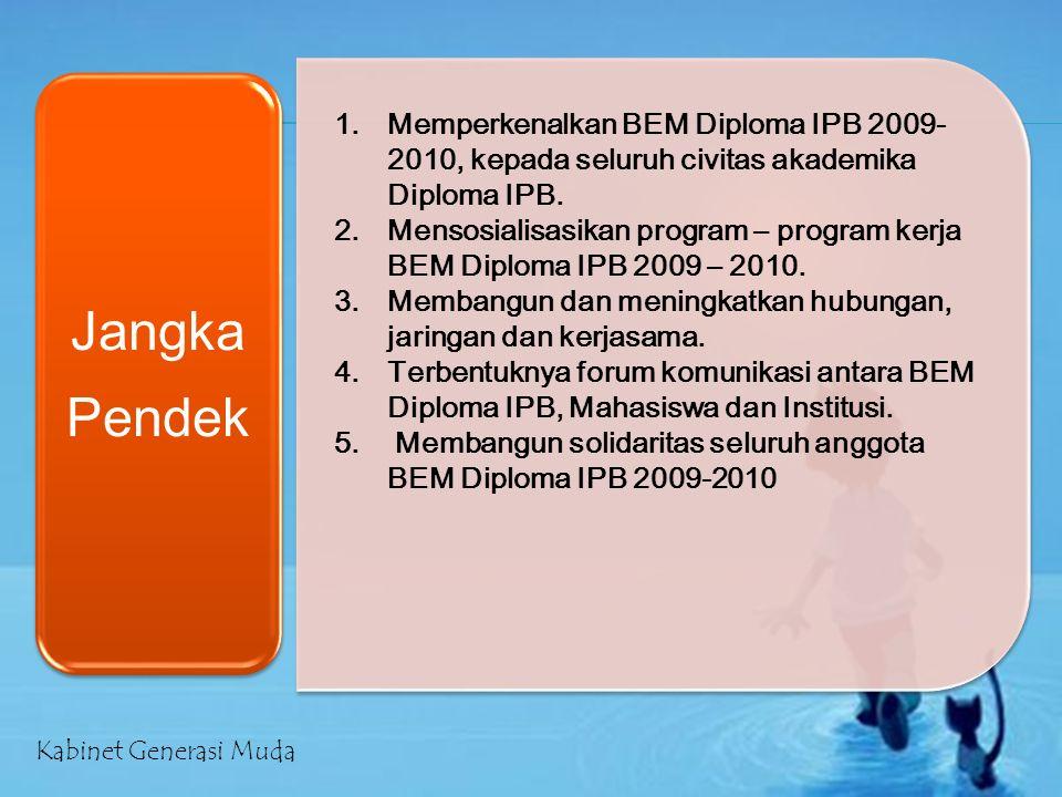 Jangka Pendek 1.Memperkenalkan BEM Diploma IPB 2009- 2010, kepada seluruh civitas akademika Diploma IPB. 2.Mensosialisasikan program – program kerja B