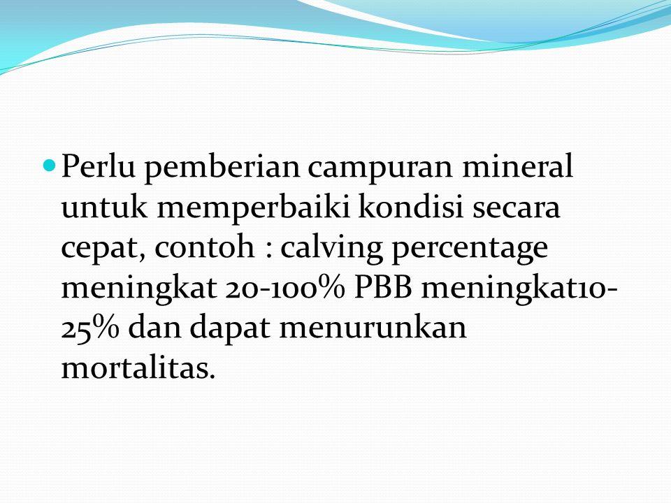 Perlu pemberian campuran mineral untuk memperbaiki kondisi secara cepat, contoh : calving percentage meningkat 20-100% PBB meningkat10- 25% dan dapat menurunkan mortalitas.