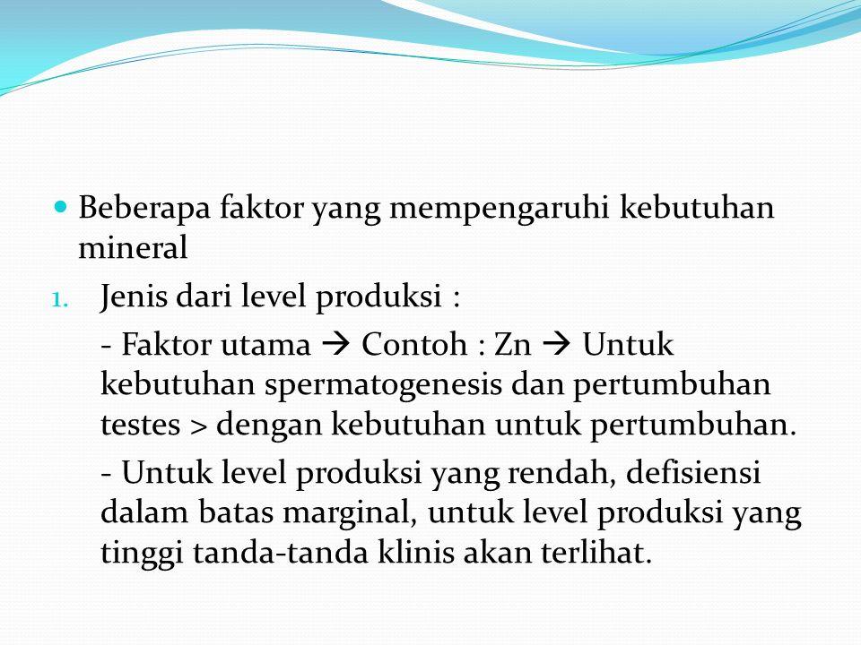 Beberapa faktor yang mempengaruhi kebutuhan mineral 1.