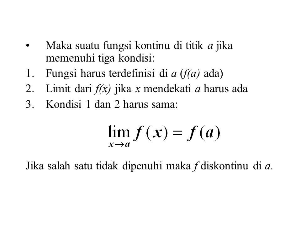 Maka suatu fungsi kontinu di titik a jika memenuhi tiga kondisi: 1.Fungsi harus terdefinisi di a (f(a) ada) 2.Limit dari f(x) jika x mendekati a harus ada 3.Kondisi 1 dan 2 harus sama: Jika salah satu tidak dipenuhi maka f diskontinu di a.