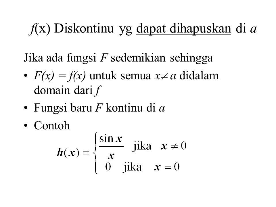 f(x) Diskontinu yg dapat dihapuskan di a Jika ada fungsi F sedemikian sehingga F(x) = f(x) untuk semua x  a didalam domain dari f Fungsi baru F kontinu di a Contoh