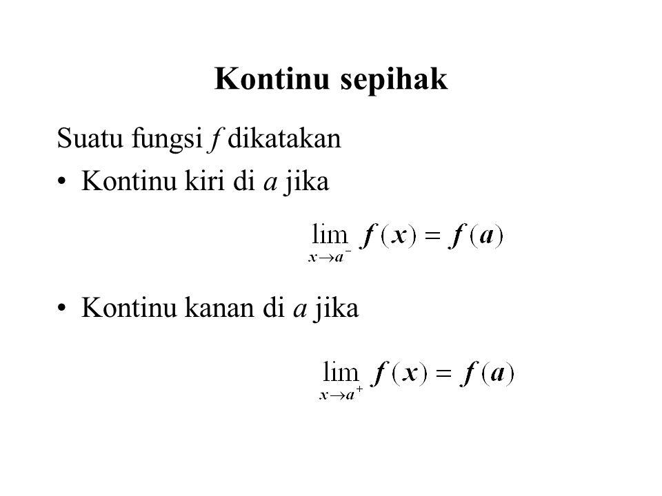 Definisi.Dikatakan f kontinu pada selang (a,b) jika kontinu pada setiap titik c  (a,b).