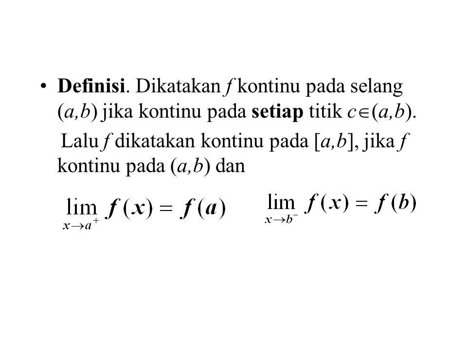 Definisi. Dikatakan f kontinu pada selang (a,b) jika kontinu pada setiap titik c  (a,b).