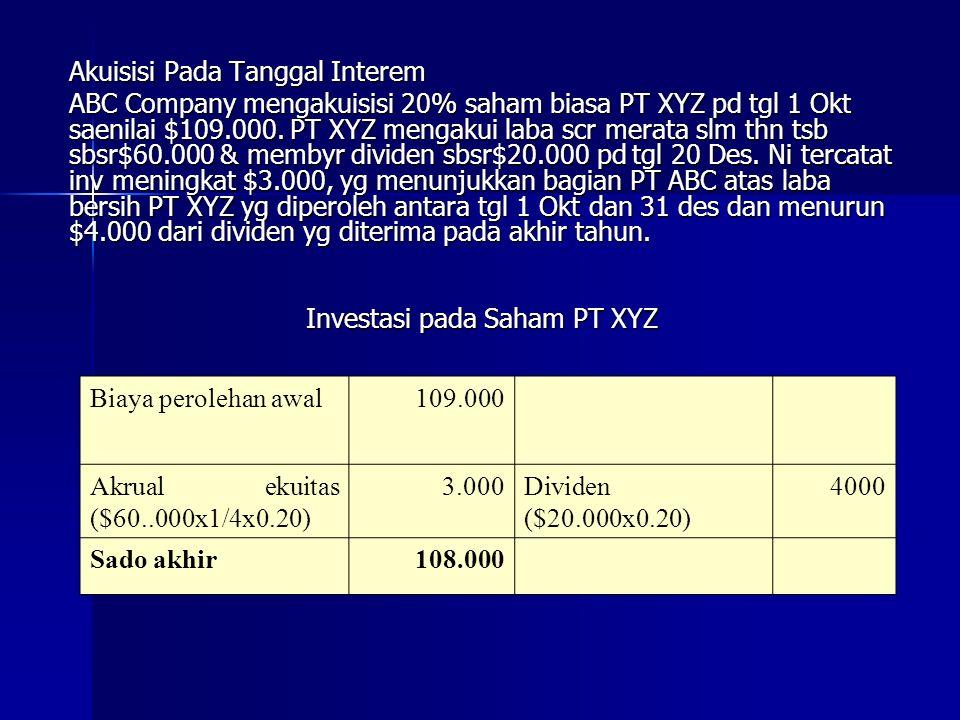 Akuisisi Pada Tanggal Interem ABC Company mengakuisisi 20% saham biasa PT XYZ pd tgl 1 Okt saenilai $109.000.