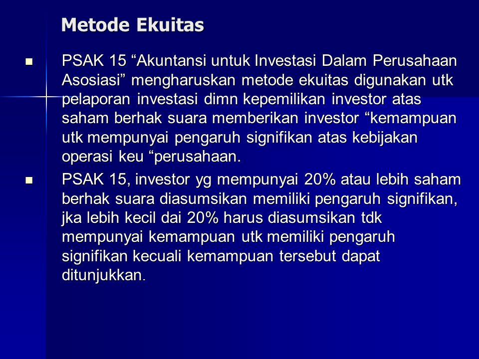 """Metode Ekuitas PSAK 15 """"Akuntansi untuk Investasi Dalam Perusahaan Asosiasi"""" mengharuskan metode ekuitas digunakan utk pelaporan investasi dimn kepemi"""