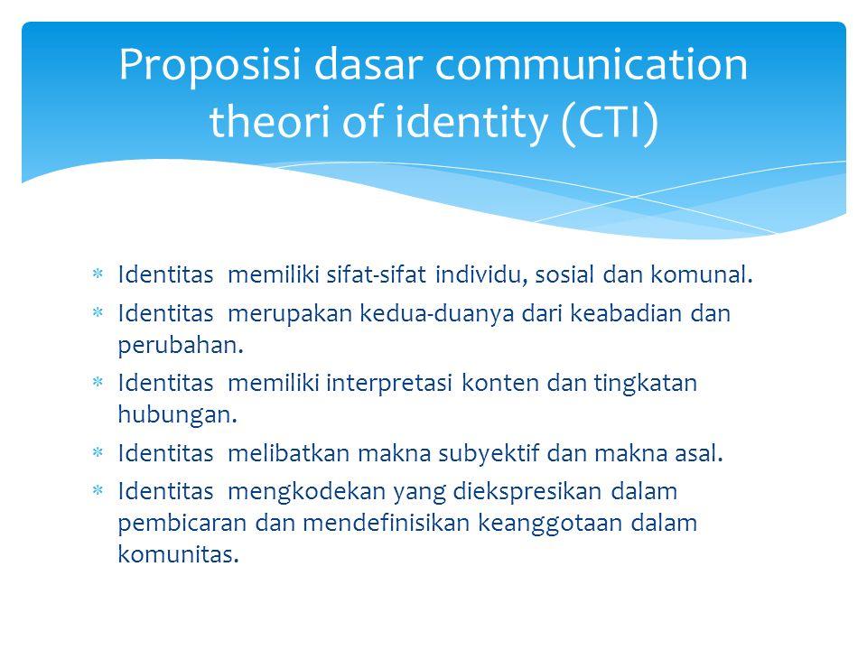  Identitas memiliki sifat-sifat individu, sosial dan komunal.