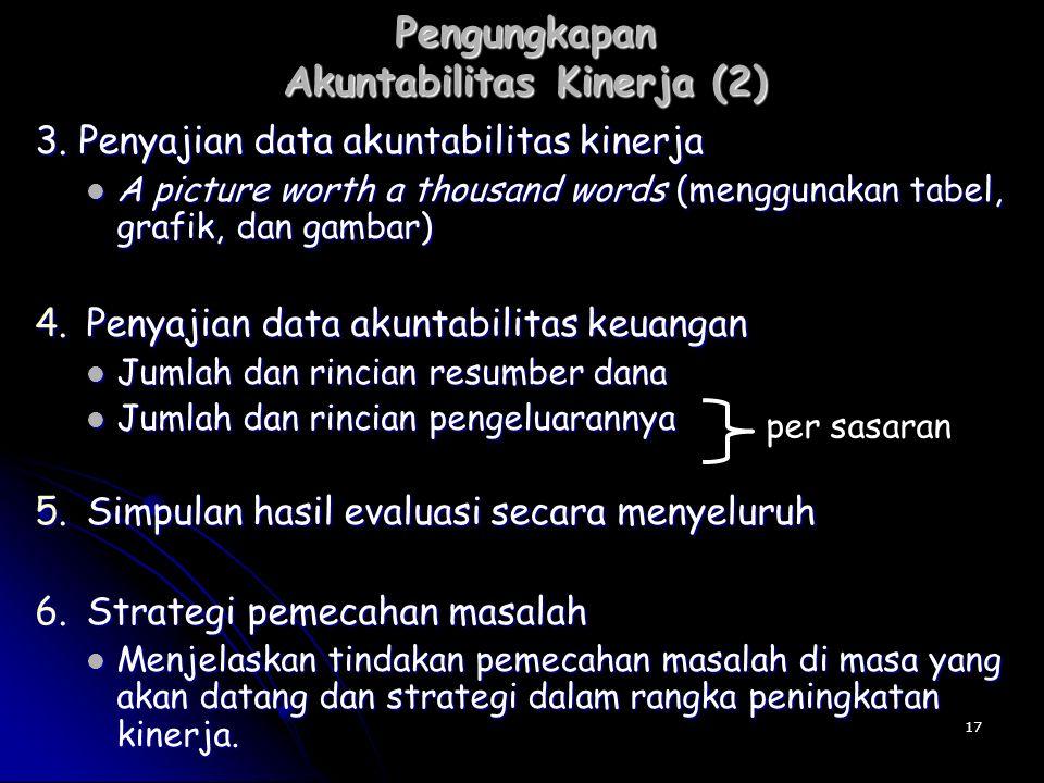 Pengungkapan Akuntabilitas Kinerja (2) 3. Penyajian data akuntabilitas kinerja A picture worth a thousand words (menggunakan tabel, grafik, dan gambar