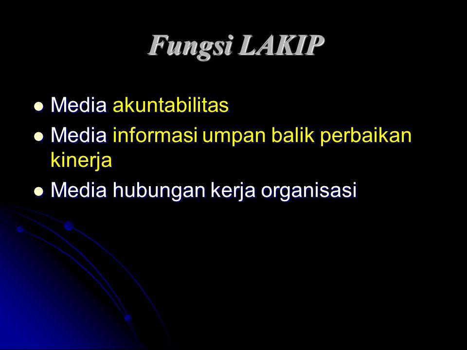Fungsi LAKIP Media akuntabilitas Media akuntabilitas Media informasi umpan balik perbaikan kinerja Media informasi umpan balik perbaikan kinerja Media