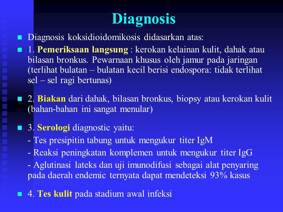 Diagnosis n n Diagnosis koksidioidomikosis didasarkan atas: n n 1. Pemeriksaan langsung : kerokan kelainan kulit, dahak atau bilasan bronkus. Pewarnaa