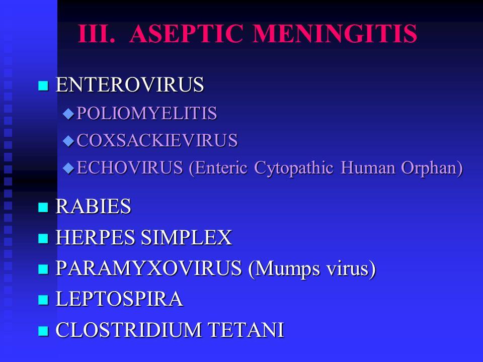 III. ASEPTIC MENINGITIS n ENTEROVIRUS u POLIOMYELITIS u COXSACKIEVIRUS u ECHOVIRUS (Enteric Cytopathic Human Orphan) n RABIES n HERPES SIMPLEX n PARAM