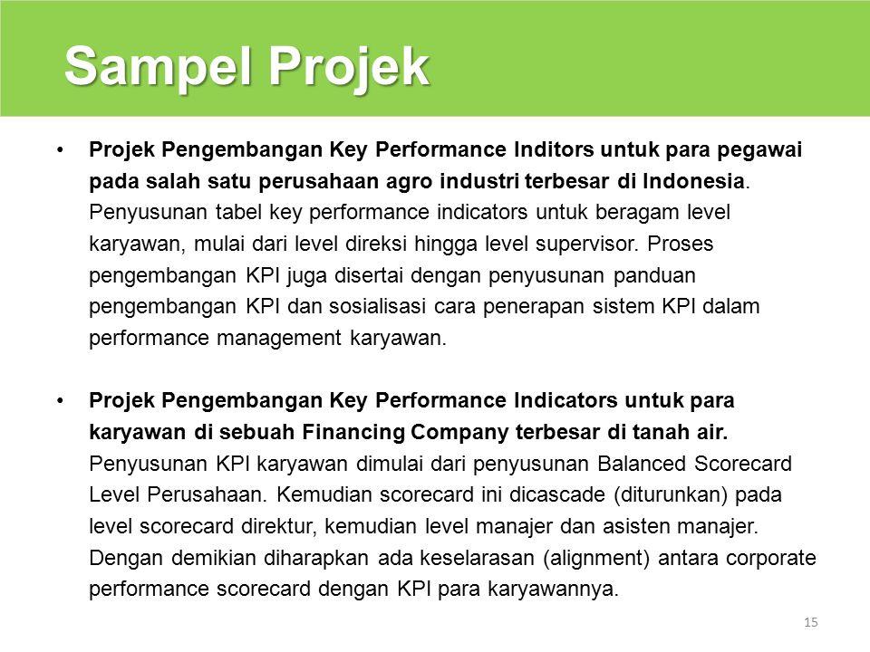 Sampel Projek 15 Projek Pengembangan Key Performance Inditors untuk para pegawai pada salah satu perusahaan agro industri terbesar di Indonesia.