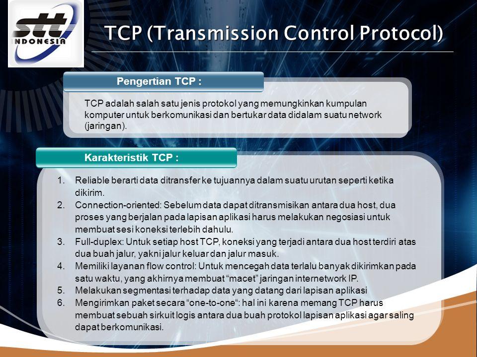 LOGO www.themegallery.com Fungsi TCP : 1.Menyediakan komunikasi logika antar proses aplikasi yang berjalan pada host yang berbeda 2.protokol transport berjalan pada end systems 3.Pengiriman file (file transfer).