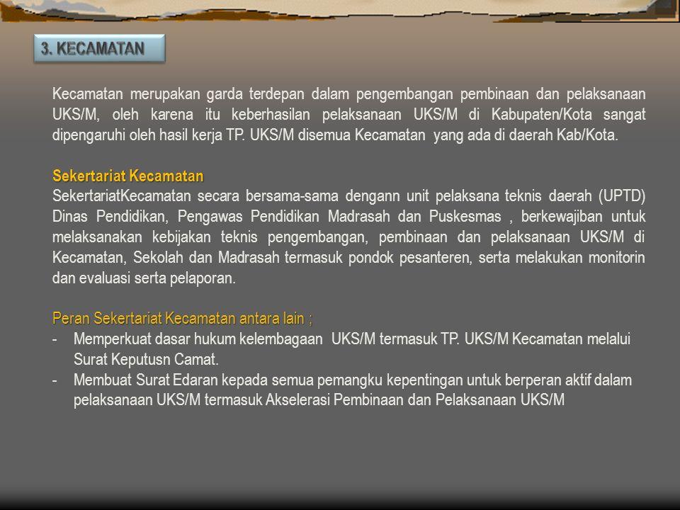 Kabupaten/Kota, sesuai dengan prinsip otonomi daerah, Kab/Kota bertanggung jawab sepenuhnya terhadap penyelenggaraan UKS/M yang dilaksanakan oleh pera