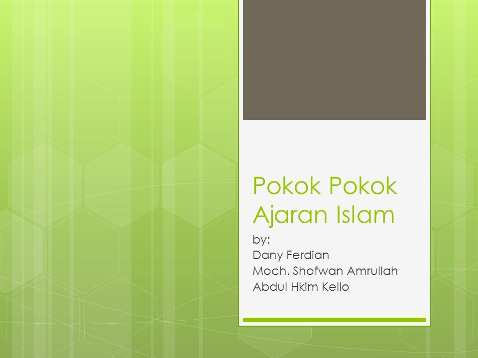 Pokok Pokok Ajaran Islam by: Dany Ferdian Moch. Shofwan Amrullah Abdul Hkim Kello