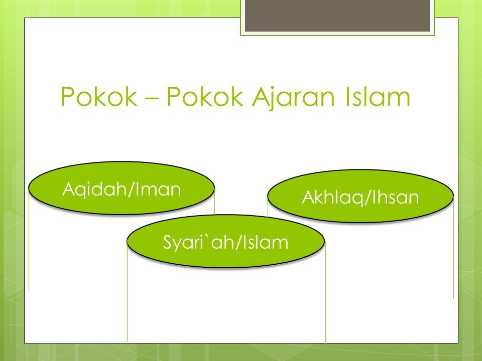 Pokok – Pokok Ajaran Islam Aqidah/Iman Syari`ah/Islam Akhlaq/Ihsan