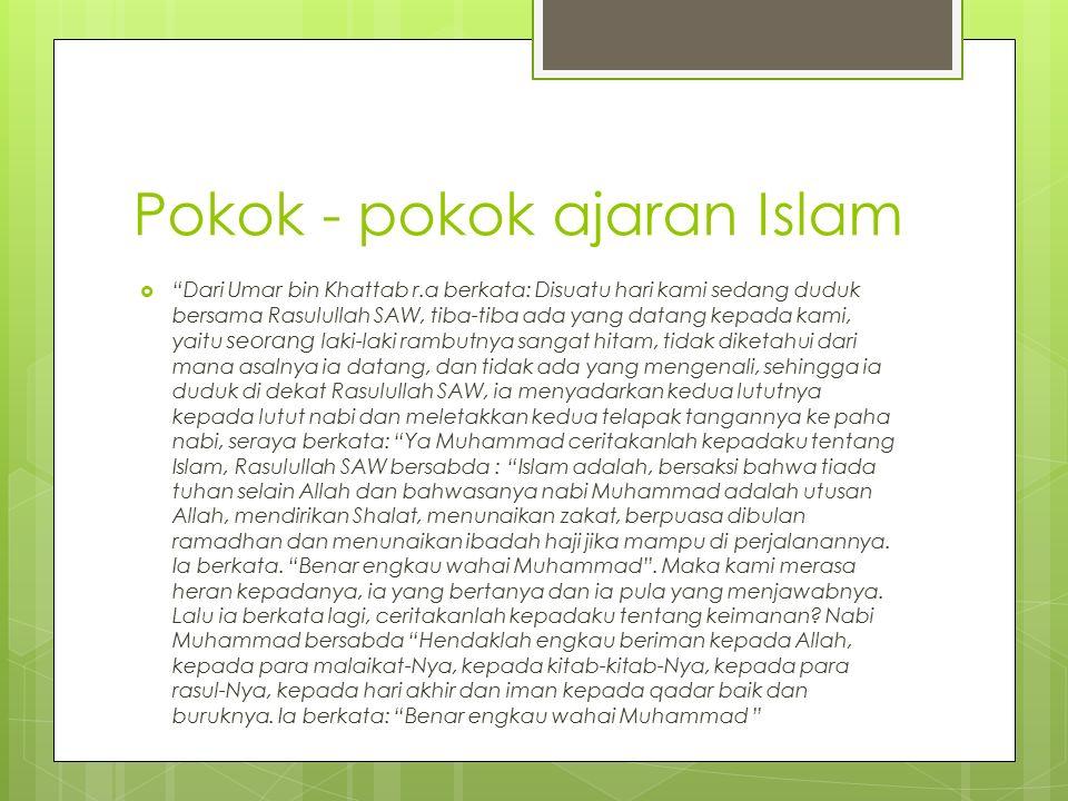 """Pokok - pokok ajaran Islam  """"Dari Umar bin Khattab r.a berkata: Disuatu hari kami sedang duduk bersama Rasulullah SAW, tiba-tiba ada yang datang kepa"""