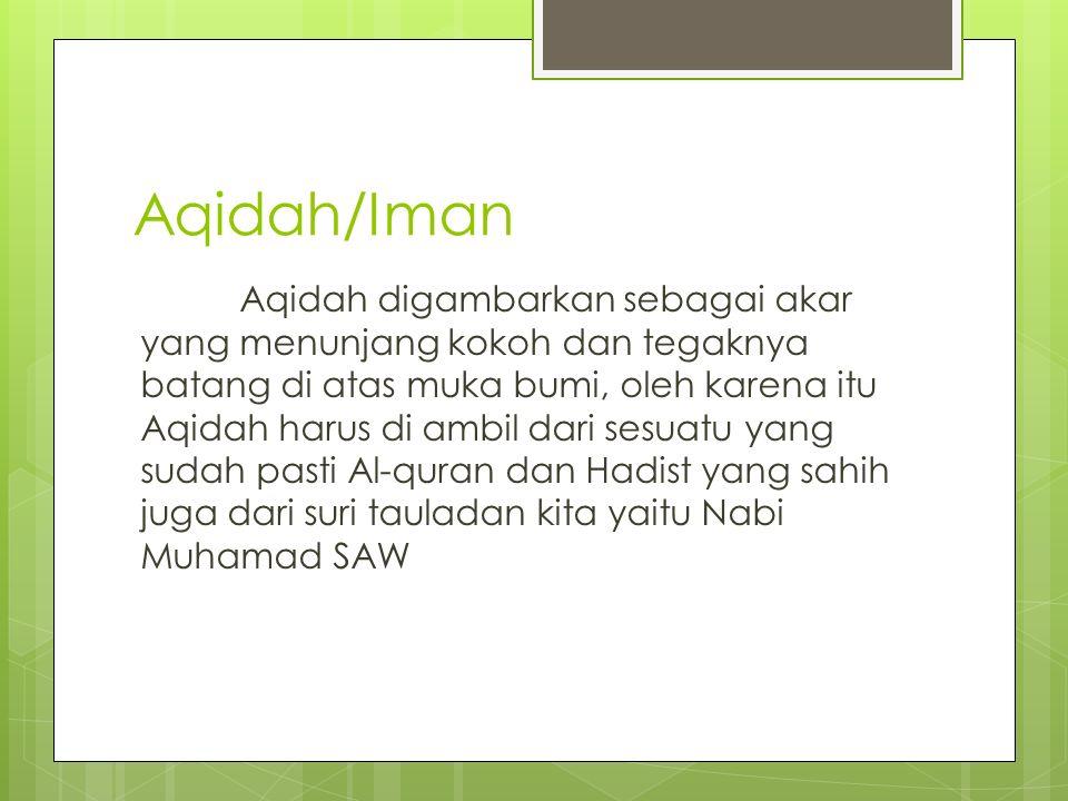Aqidah/Iman Aqidah digambarkan sebagai akar yang menunjang kokoh dan tegaknya batang di atas muka bumi, oleh karena itu Aqidah harus di ambil dari sesuatu yang sudah pasti Al-quran dan Hadist yang sahih juga dari suri tauladan kita yaitu Nabi Muhamad SAW