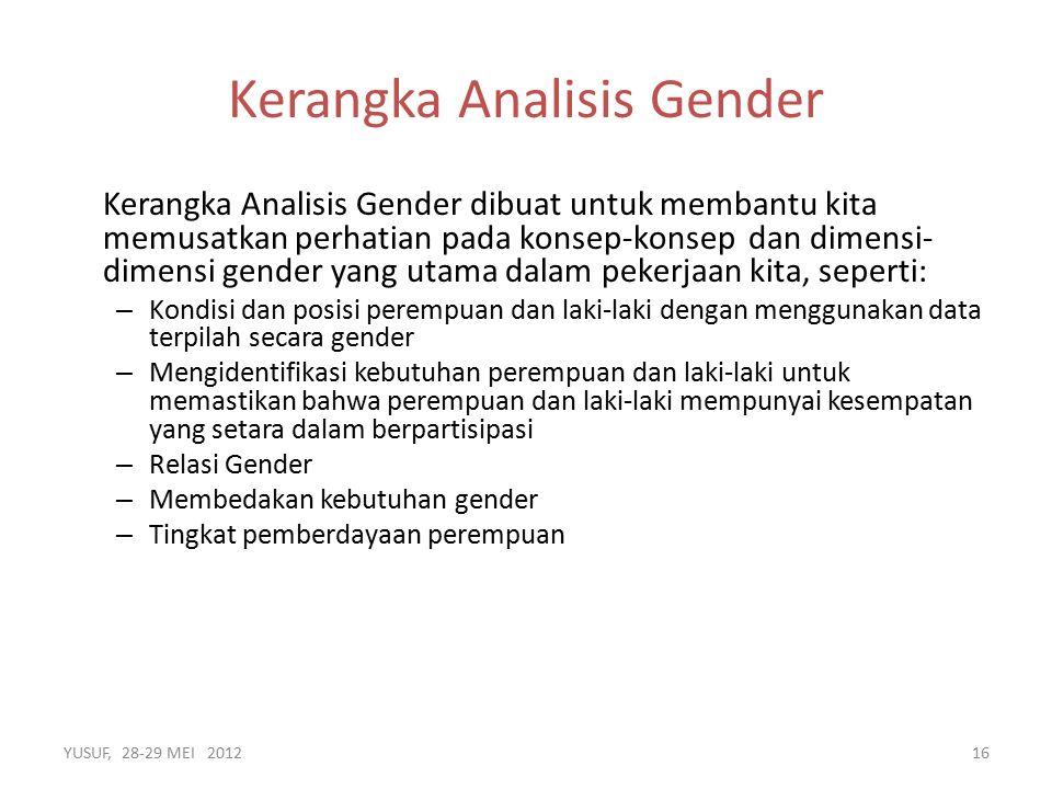 Kerangka Analisis Gender dibuat untuk membantu kita memusatkan perhatian pada konsep-konsep dan dimensi- dimensi gender yang utama dalam pekerjaan kita, seperti: – Kondisi dan posisi perempuan dan laki-laki dengan menggunakan data terpilah secara gender – Mengidentifikasi kebutuhan perempuan dan laki-laki untuk memastikan bahwa perempuan dan laki-laki mempunyai kesempatan yang setara dalam berpartisipasi – Relasi Gender – Membedakan kebutuhan gender – Tingkat pemberdayaan perempuan YUSUF, 28-29 MEI 201216 Kerangka Analisis Gender