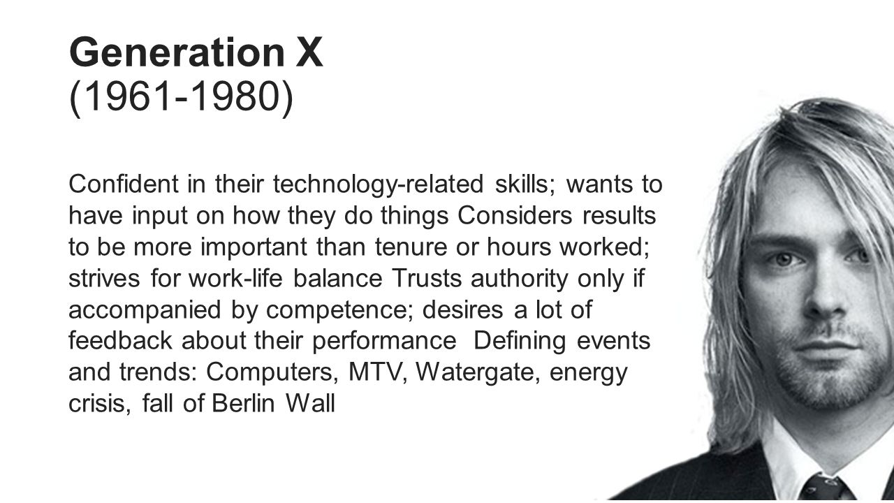 Generation X (1961-1980) Confident in their technology-related skills; wants to have input on how they do things Considers results to be more important than tenure or hours worked; strives for work-life balance Trusts authority only if accompanied by competence; desires a lot of feedback about their performance Defining events and trends: Computers, MTV, Watergate, energy crisis, fall of Berlin Wall