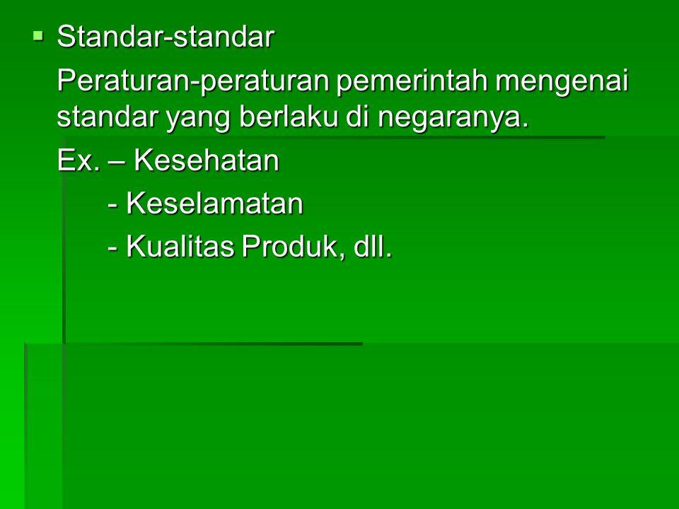  Standar-standar Peraturan-peraturan pemerintah mengenai standar yang berlaku di negaranya.