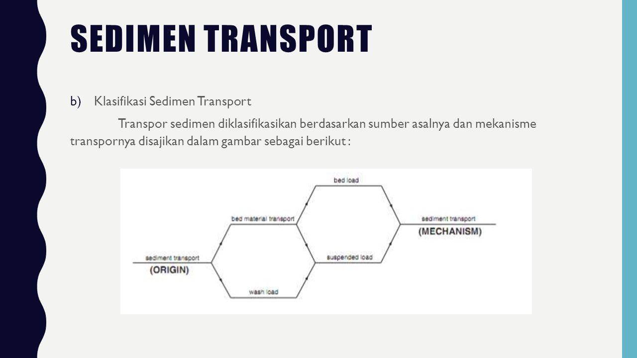 SEDIMEN TRANSPORT b)Klasifikasi Sedimen Transport Transpor sedimen diklasifikasikan berdasarkan sumber asalnya dan mekanisme transpornya disajikan dalam gambar sebagai berikut :