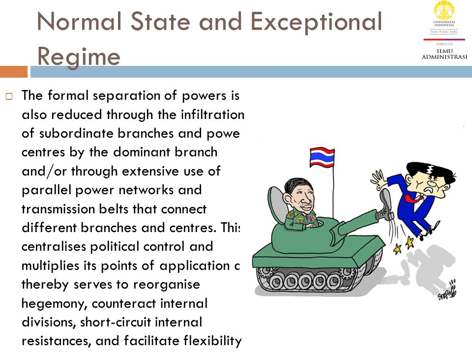 Normal State and Exceptional Regime  The formal separation of powers is also reduced through the infiltration of subordinate branches and power centr