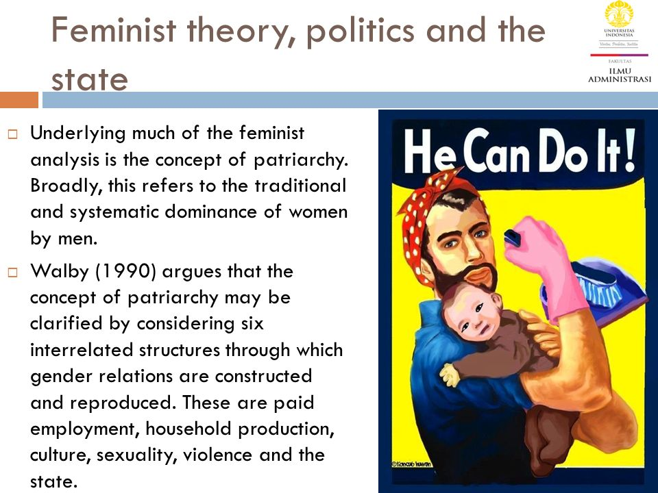 Feminist theory, politics and the state  Underlying much of the feminist analysis is the concept of patriarchy.