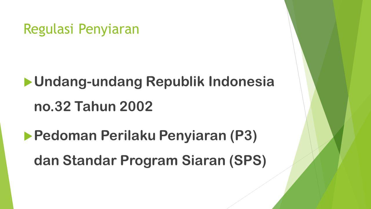 Regulasi Penyiaran  Undang-undang Republik Indonesia no.32 Tahun 2002  Pedoman Perilaku Penyiaran (P3) dan Standar Program Siaran (SPS)