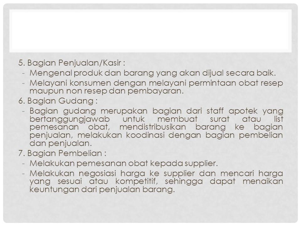 5. Bagian Penjualan/Kasir : -Mengenal produk dan barang yang akan dijual secara baik.