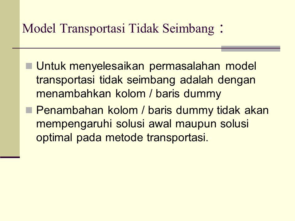 Model Transportasi Tidak Seimbang : Untuk menyelesaikan permasalahan model transportasi tidak seimbang adalah dengan menambahkan kolom / baris dummy Penambahan kolom / baris dummy tidak akan mempengaruhi solusi awal maupun solusi optimal pada metode transportasi.