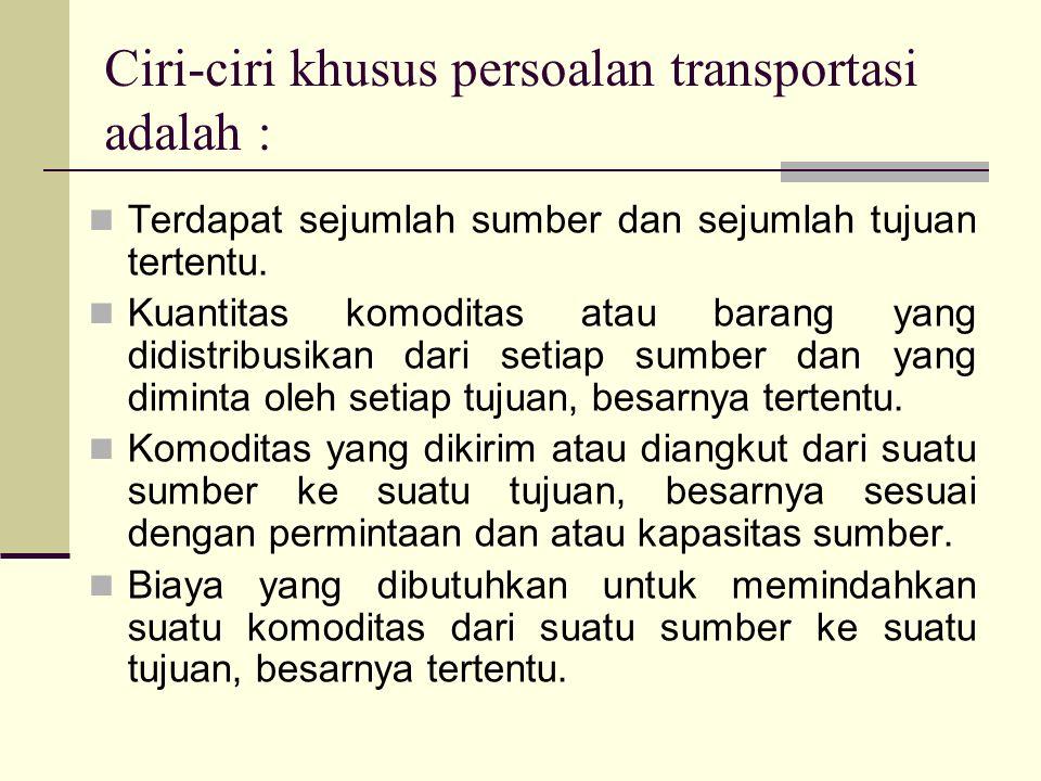 Ciri-ciri khusus persoalan transportasi adalah : Terdapat sejumlah sumber dan sejumlah tujuan tertentu. Kuantitas komoditas atau barang yang didistrib