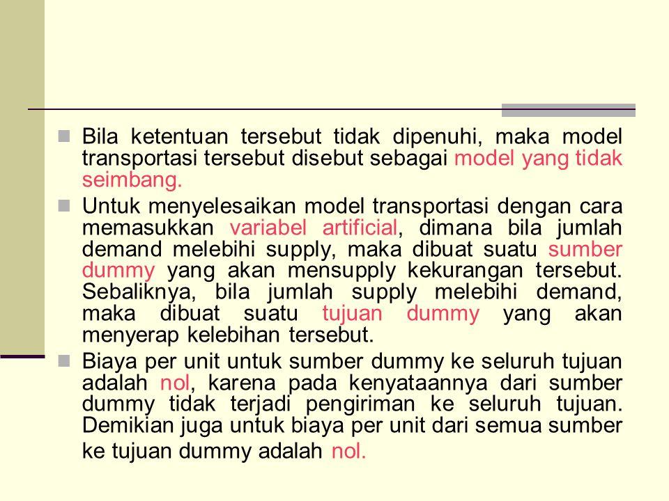 Bila ketentuan tersebut tidak dipenuhi, maka model transportasi tersebut disebut sebagai model yang tidak seimbang. Untuk menyelesaikan model transpor