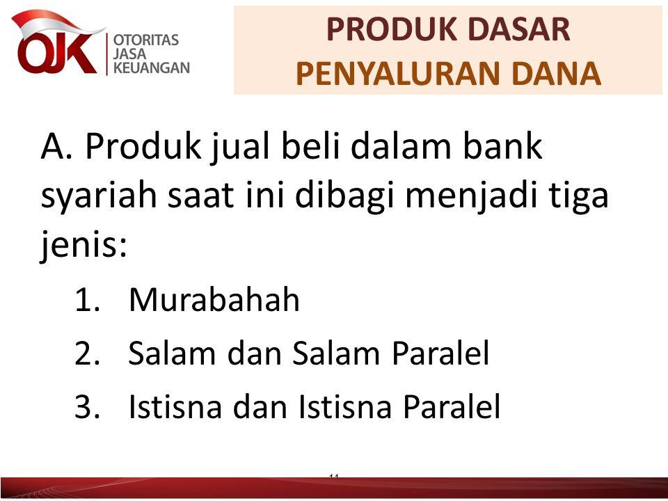 A. Produk jual beli dalam bank syariah saat ini dibagi menjadi tiga jenis: 1.Murabahah 2.Salam dan Salam Paralel 3.Istisna dan Istisna Paralel 11 PROD