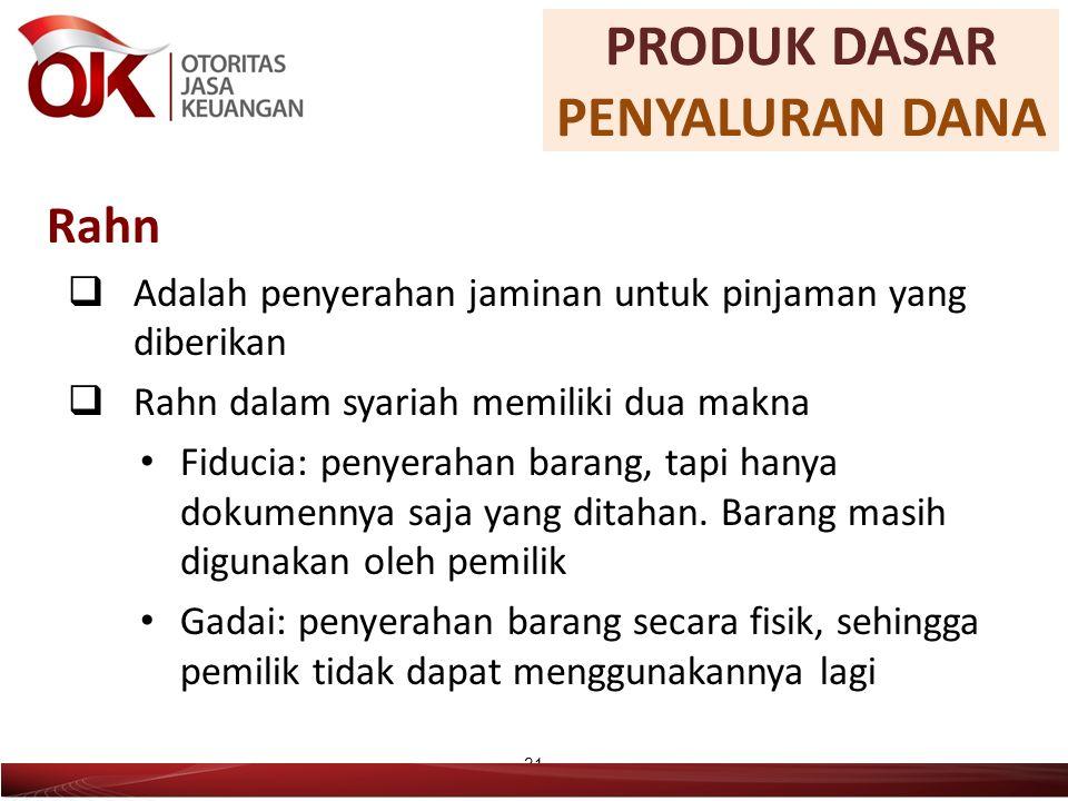 Rahn  Adalah penyerahan jaminan untuk pinjaman yang diberikan  Rahn dalam syariah memiliki dua makna Fiducia: penyerahan barang, tapi hanya dokumennya saja yang ditahan.