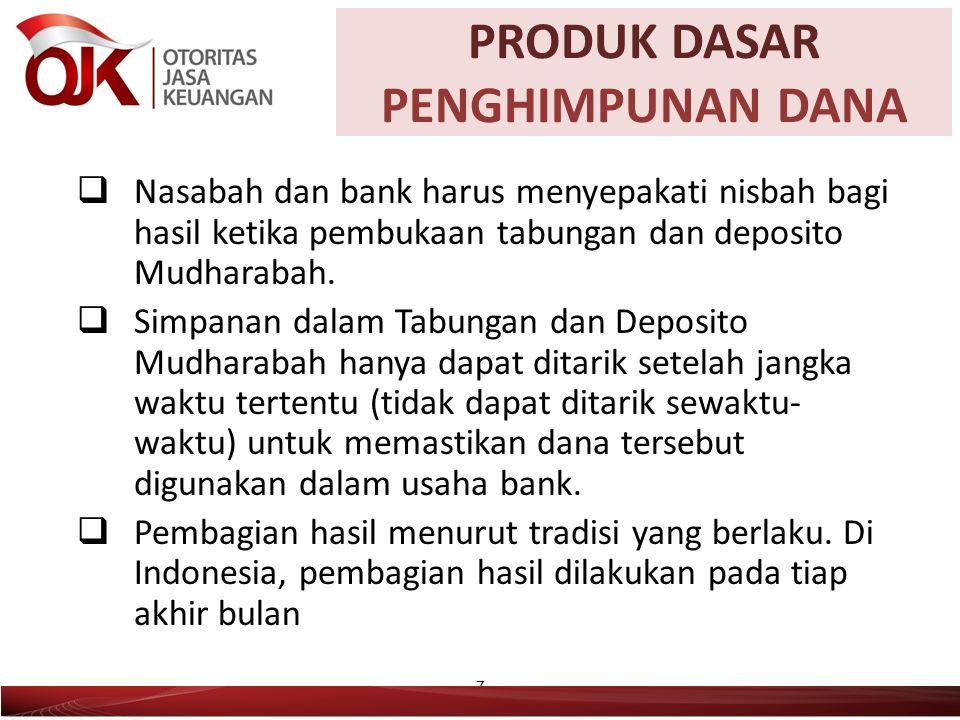  Nasabah dan bank harus menyepakati nisbah bagi hasil ketika pembukaan tabungan dan deposito Mudharabah.