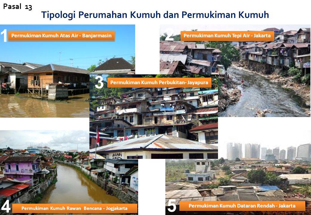 Tipologi Perumahan Kumuh dan Permukiman Kumuh Permukiman Kumuh Atas Air - Banjarmasin Permukiman Kumuh Tepi Air - Jakarta Permukiman Kumuh Rawan Bencana - Jogjakarta Permukiman Kumuh Perbukitan- Jayapura Permukiman Kumuh Dataran Rendah - Jakarta 1 2 3 4 5 Pasal 13