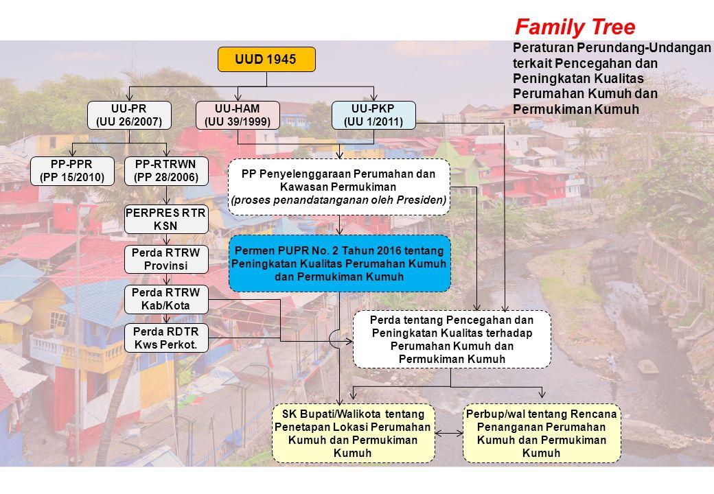 Peraturan Perundang-Undangan terkait Pencegahan dan Peningkatan Kualitas Perumahan Kumuh dan Permukiman Kumuh UUD 1945 UU-HAM (UU 39/1999) UU-PKP (UU 1/2011) PP Penyelenggaraan Perumahan dan Kawasan Permukiman (proses penandatanganan oleh Presiden) UU-PR (UU 26/2007) PP-PPR (PP 15/2010) PP-RTRWN (PP 28/2006) PERPRES RTR KSN Perda RTRW Provinsi Perda RTRW Kab/Kota Perda RDTR Kws Perkot.