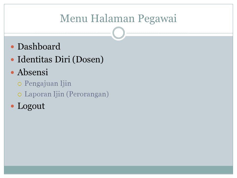 Menu Halaman Pegawai Dashboard Identitas Diri (Dosen) Absensi  Pengajuan Ijin  Laporan Ijin (Perorangan) Logout